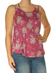 Burgundy Floral Spaghetti Strap Jewel Neck Top