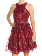 Maroon Sequined Sleeveless Jewel Neck Above The Knee Fit + Flare Cocktail Dress