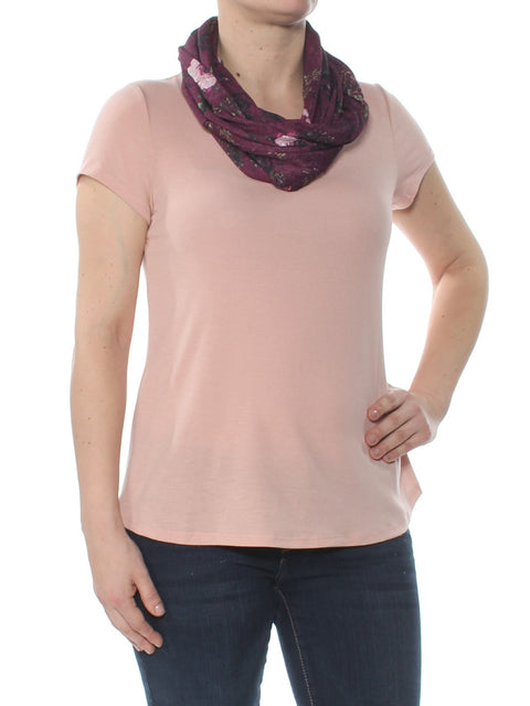 Pink Scarf Neck Short Sleeve Jewel Neck Wear To Work Top