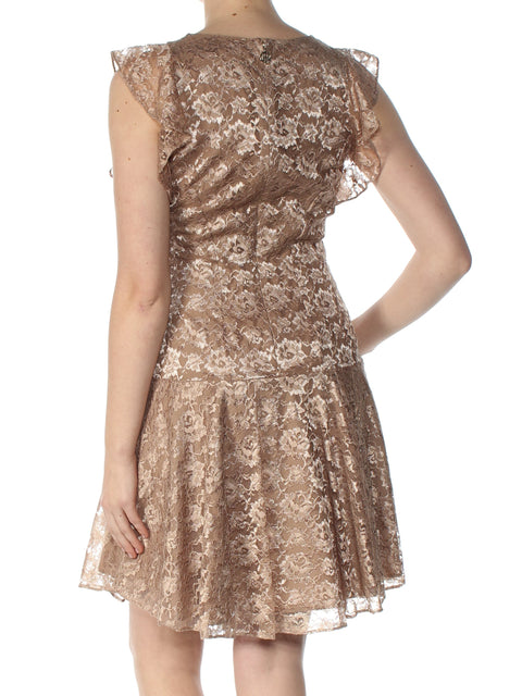 Brown Lace Cap Sleeve Jewel Neck Above The Knee Fit + Flare Cocktail Dress