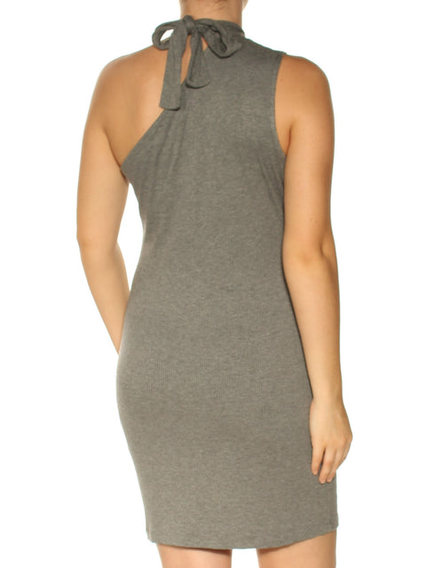 Gray Sleeveless Asymmetrical Neckline Above The Knee Fit + Flare Evening Dress
