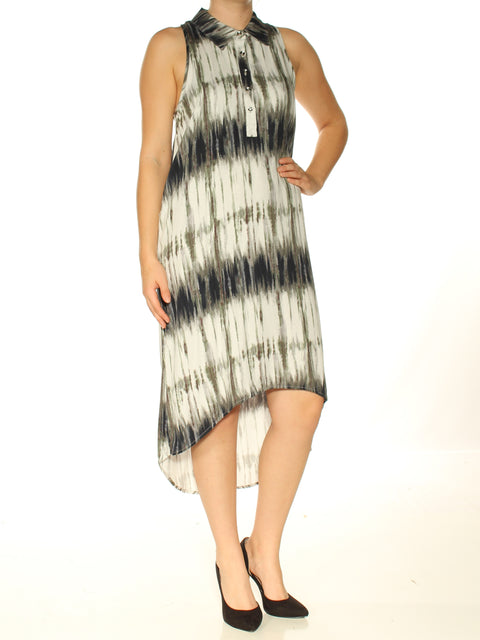Gray Printed Sleeveless Collared Above The Knee Hi-Lo Evening Dress