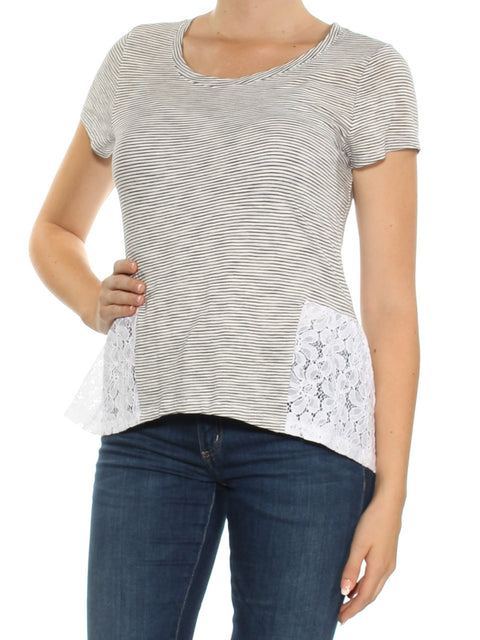 White Lace Striped Short Sleeve Jewel Neck Top