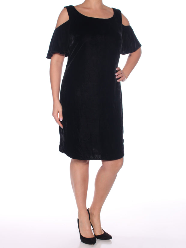 Black Short Sleeve Scoop Neck Above The Knee Shift Evening Dress