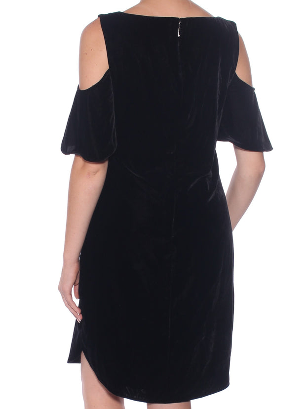 Black Short Sleeve Scoop Neck Knee Length Shift Cocktail Dress