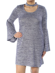 Blue Heather Bell Sleeve Scoop Neck Above The Knee Shift Dress