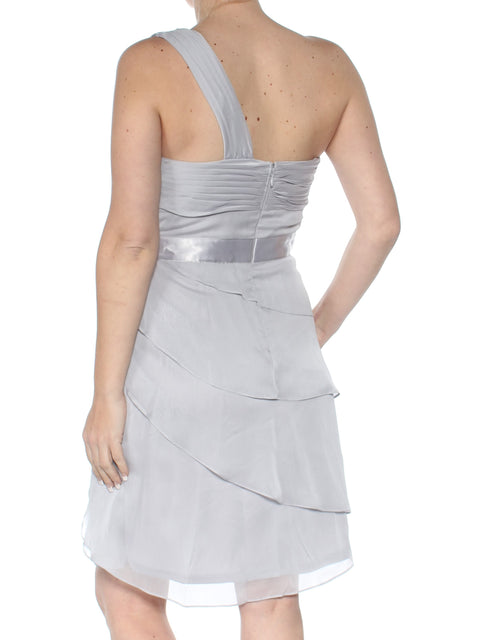 Gray Sleeveless Asymmetrical Neckline Above The Knee Fit + Flare Party Dress