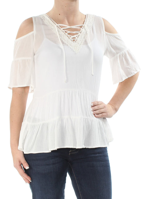 Ivory Cold Shoulder Short Sleeve V Neck Top
