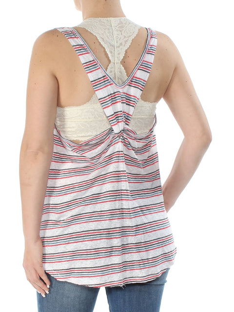 Red Striped Sleeveless Scoop Neck Top