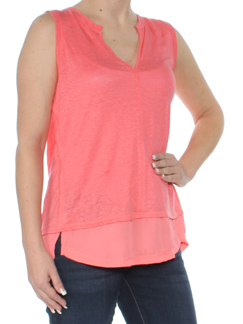 Coral Layered Look Sleeveless V Neck Top