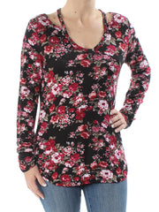 Black Cut Out Floral Long Sleeve V Neck Top