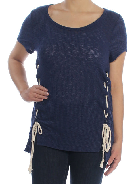 Navy Lace-up Short Sleeve Scoop Neck T-Shirt