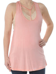 Pink Cut Out  Tank Sleeveless Scoop Neck Top