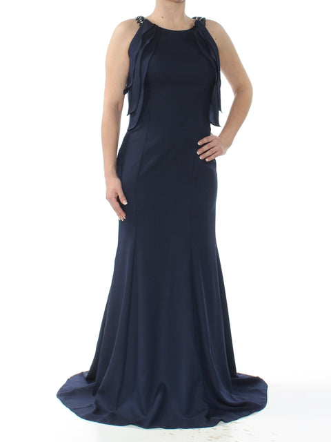 Navy Pleated Sleeveless Halter Full Length Evening Dress