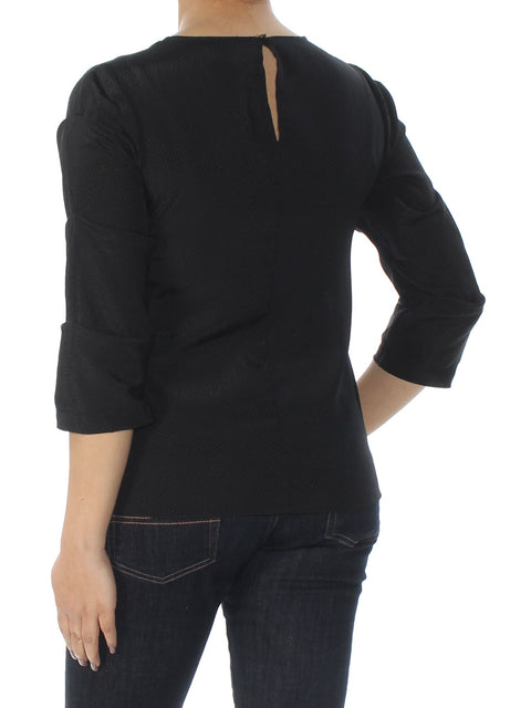 Black Textured Long Sleeve Jewel Neck Wear To Work Top