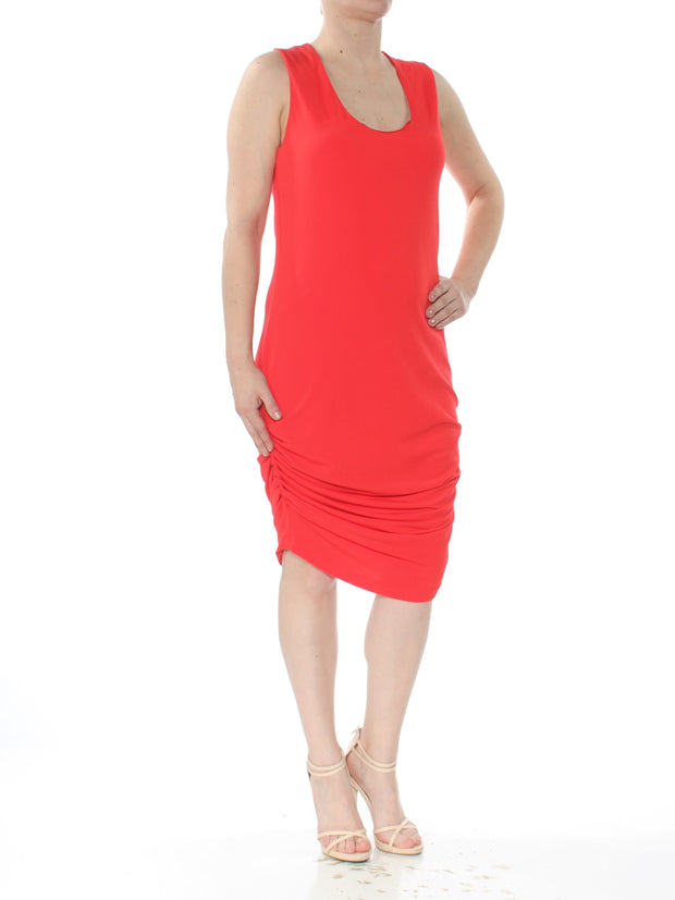 Red Ruched Racerback Sleeveless Scoop Neck Midi Dress