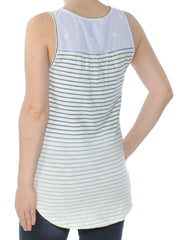 Ivory Striped Eyelet Trimmed O Sleeveless Keyhole Sweater