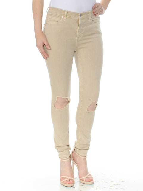 Beige Busted Knee Jeans