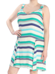 Ivory Striped Sleeveless V Neck Above The Knee Dress