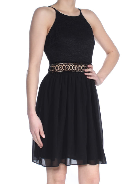 Black Lace Sleeveless Halter Above The Knee Sheath Cocktail Dress