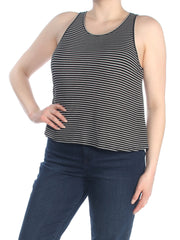 Black Striped Sleeveless Jewel Neck Top