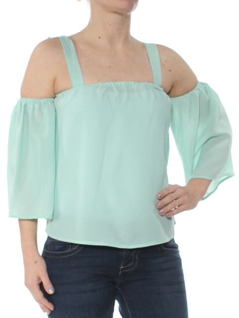 Green Cold Shoulder 3/4 Sleeve Square Neck Top