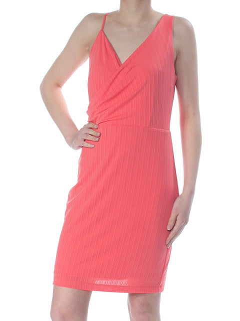 Coral Knit Sleeveless Knee Length Faux Wrap Dress