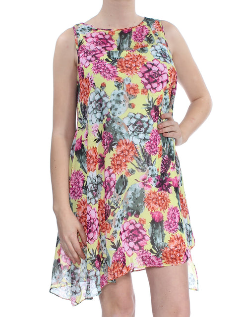 Yellow Floral Sleeveless Jewel Neck Mini Shift Dress