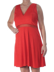 Red Lace Inserts Sleeveless V Neck Above The Knee Fit + Flare Dress