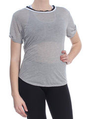 Gray Cut Out Short Sleeve Jewel Neck Active Wear Top