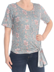 Blue Floral Short Sleeve Jewel Neck Top