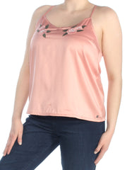 Pink Embroidered Spaghetti Strap Scoop Neck Top