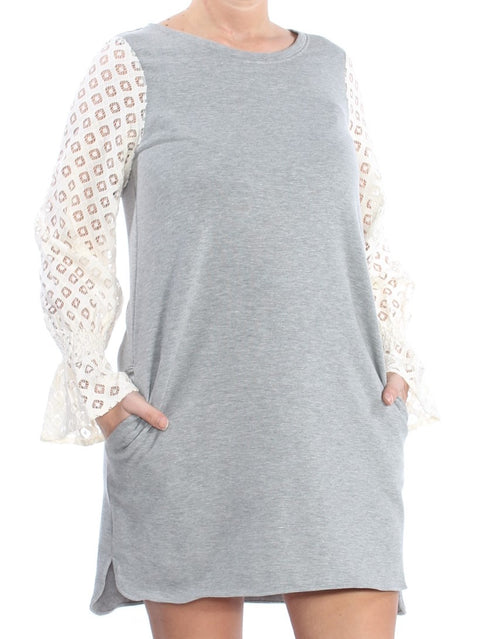 Gray Long Sleeve Jewel Neck Above The Knee Shift Dress