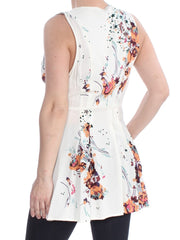 Ivory Floral Sleeveless V Neck Tunic
