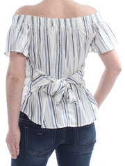 Ivory Button Down Striped Short Sleeve Off Shoulder Cocktail Top