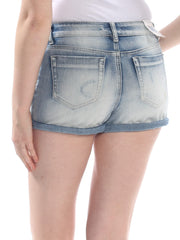 Blue Pocketed Ombre Cuffed Short