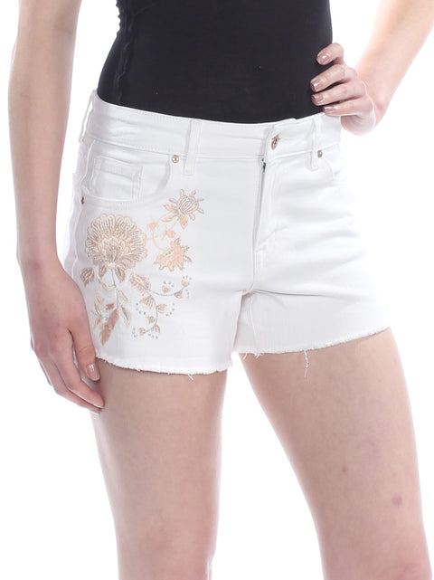 White Embroidered Floral Short