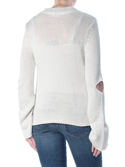 Ivory Cut Out Long Sleeve Sweater