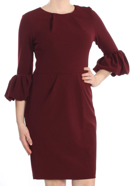 Burgundy Zippered Bell Sleeve Crew Neck Knee Length Sheath Cocktail Dress