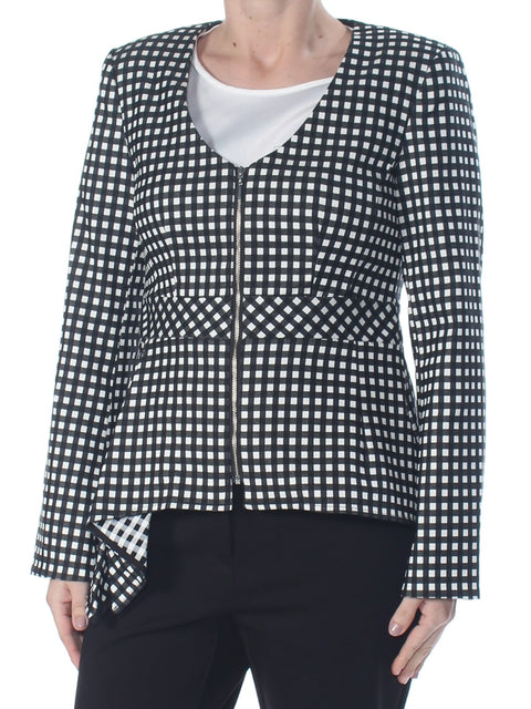 Black Darted Check Blazer Wear To Work Jacket