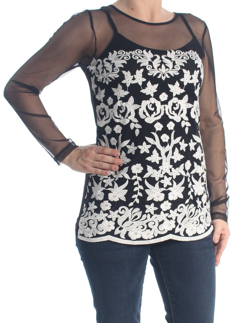 Black Embroidered Floral Long Sleeve Illusion Neckline Evening Top