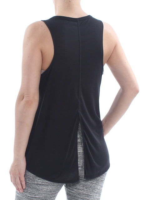 Black Back Slit Sleeveless V Neck Tank
