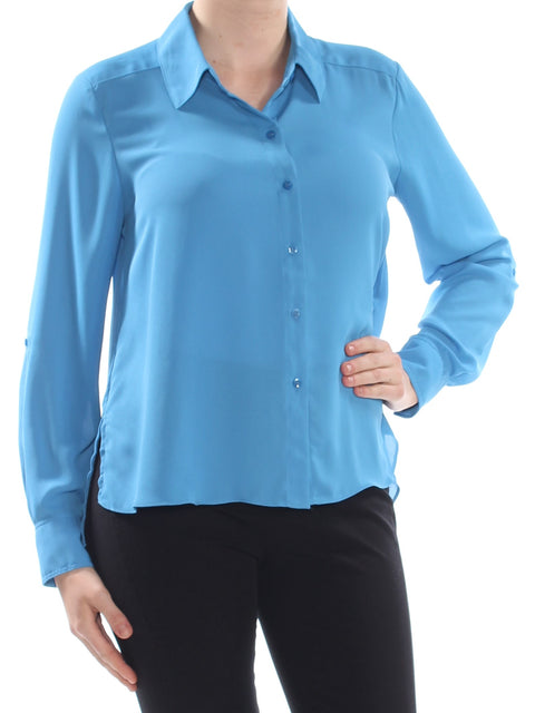 Blue Cuffed Collared Wear To Work Top