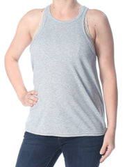 Gray Racerback Sleeveless Crew Neck Tank