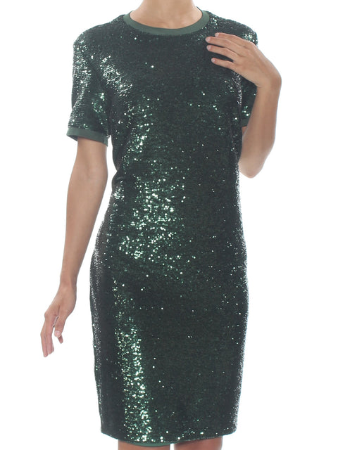 Green Sequined 3/4 Sleeve Crew Neck Knee Length Sheath Cocktail Dress