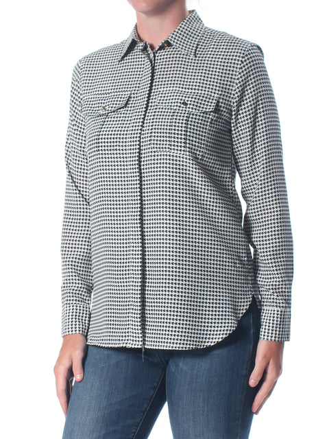 Black Houndstooth Long Sleeve Collared Button Up