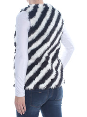 Black Faux Fur Striped Sleeveless Jewel Neck Vest