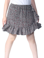 Black Printed Above The Knee Skirt