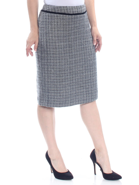 Gray Knee Length Pencil Wear To Work Skirt
