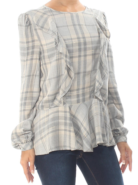 Gray Ruffled Plaid Long Sleeve Crew Neck Top